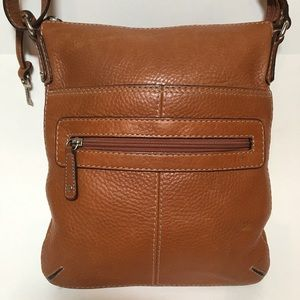 Fossil Shoulder Bag Pebbled Leather Cognac